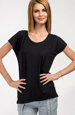 Памучна блуза с халка в черно