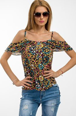 Блуза с презрамки и паднало рамо в цветен десен