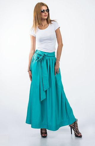 Дълга пола с висока талия в цвят тюркоаз
