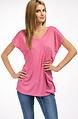 Памучна блуза с халка в розово