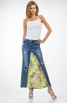 Дънкова пола от дънки и памучен плат