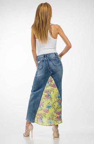 Пола от дънки и памучен плат
