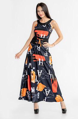 Дълга черна рокля с принт