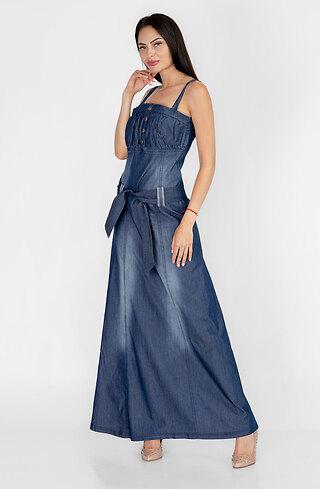 Дълга рокля от летен деним