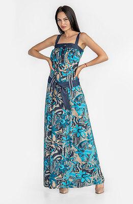 Дълга рокля с принт и акцент от летен деним