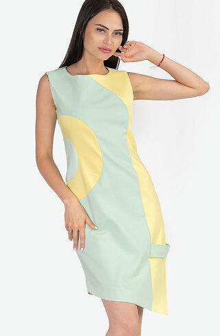 Асиметрична рокля в двуцветен десен