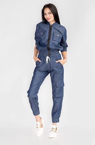 Дънков комплект от суичър и панталон със щампа