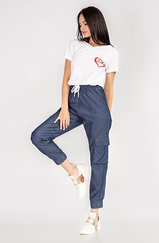 Дънков панталон с ластик и щампа лого