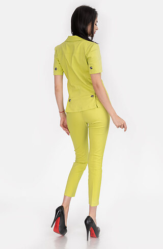 Дамски костюм от сако и панталон в цвят лайм