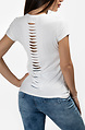 Бяла тениска с принт и ефектен гръб