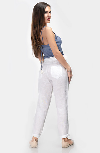 Бял ленен панталон с кант от пайети