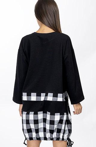 Памучна туника-рокля Макси с акцент каре
