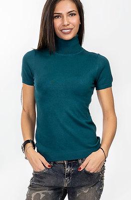 Поло блуза с къс ръкав в петролено зелен десен