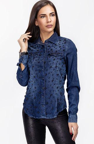 Дънкова риза с мъниста