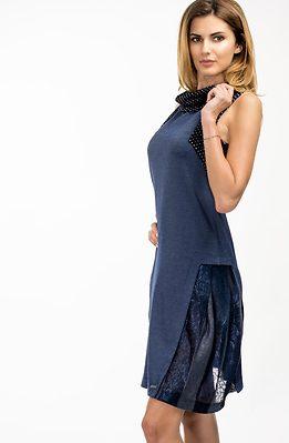Туника от финно плетиво в синьо