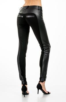Стилен панталон тип клин с еко кожа