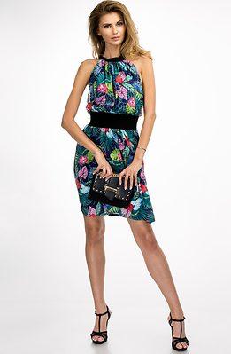 Коктейлна рокля с флорален мотив
