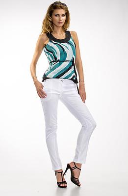 Бял памучен панталон с нервюри