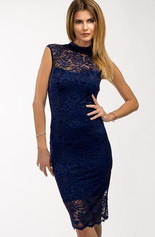 Синя коктейлна рокля