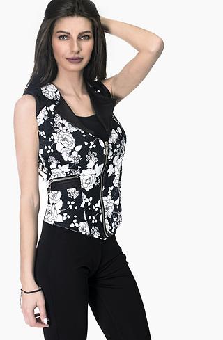 Дамски елек на цветя в черно-бял десен