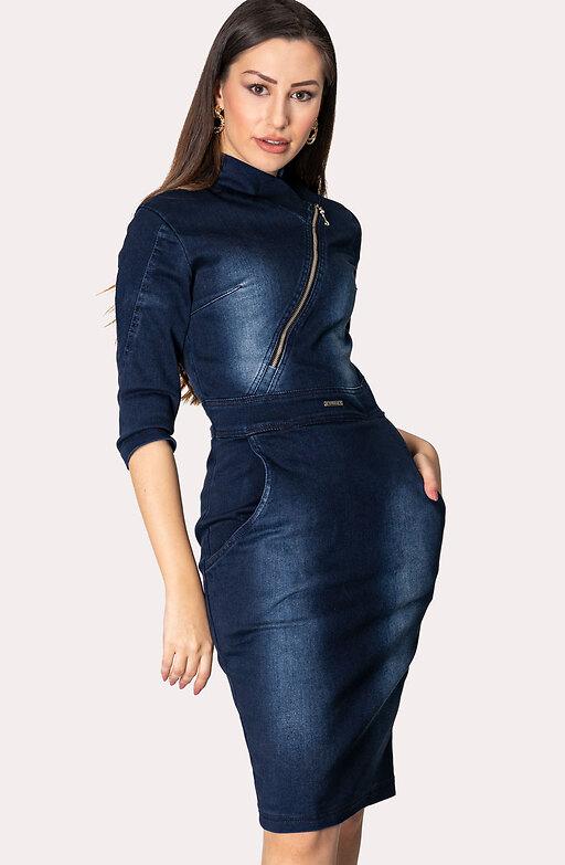 Дънкова рокля с цип и 7/8 ръкав