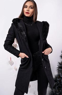 Палто от кашмир с качулка от пух
