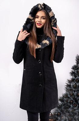 Палто от кашмир с качулка