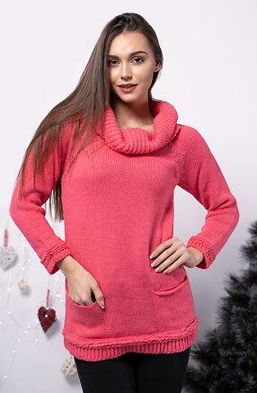 Блуза от плетиво в цвят циклама