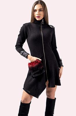 Асиметрична черна жилетка от плетиво
