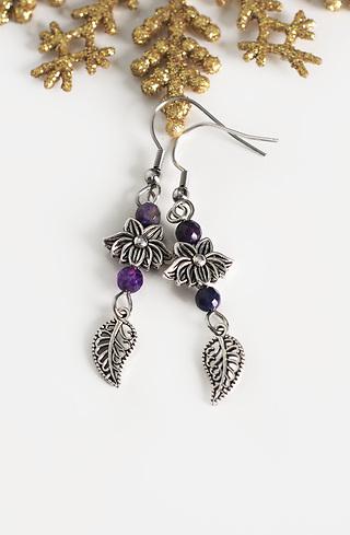 Обеци Purple Flowers