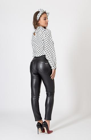 Черен кожен панталон с висока талия