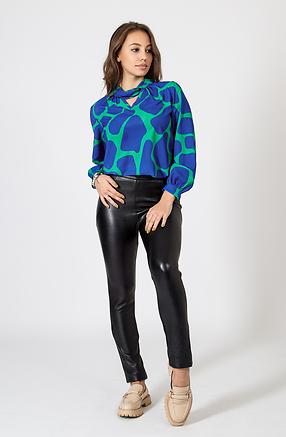 Дамска риза в синьо-зелен десен